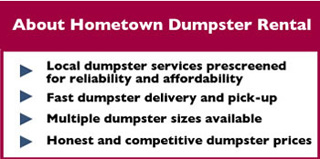 About Hometown Dumpster Rental Maryland